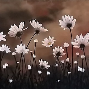 (CreativeWork) Daisy Garden by Steve Perryman. arcylic-painting. Shop online at Bluethumb.