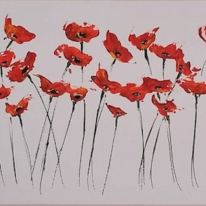 (CreativeWork) Panoramic Poppies by Steve Perryman. arcylic-painting. Shop online at Bluethumb.