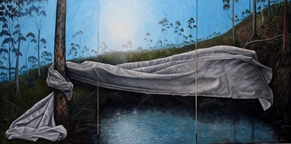 (CreativeWork) Drapery at the Black Dam by Jodi Stewart. oil-painting. Shop online at Bluethumb.
