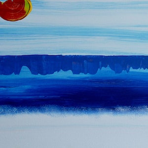 (CreativeWork) Hot Beach Day by Jennifer Whiteley. arcylic-painting. Shop online at Bluethumb.