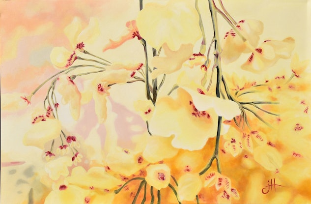 (CreativeWork) Floral Bloom by Janette Hafez. Oil Paint. Shop online at Bluethumb.