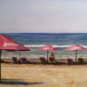 (CreativeWork) Umbrellas Legian Bali by Ivan McClennan. watercolour. Shop online at Bluethumb.