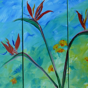 (CreativeWork) Strelitzia Trio - 3 panels by Jennifer Whiteley. arcylic-painting. Shop online at Bluethumb.