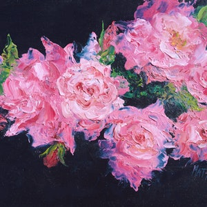 (CreativeWork) Pink Roses From My Garden by Jan Matson. oil-painting. Shop online at Bluethumb.