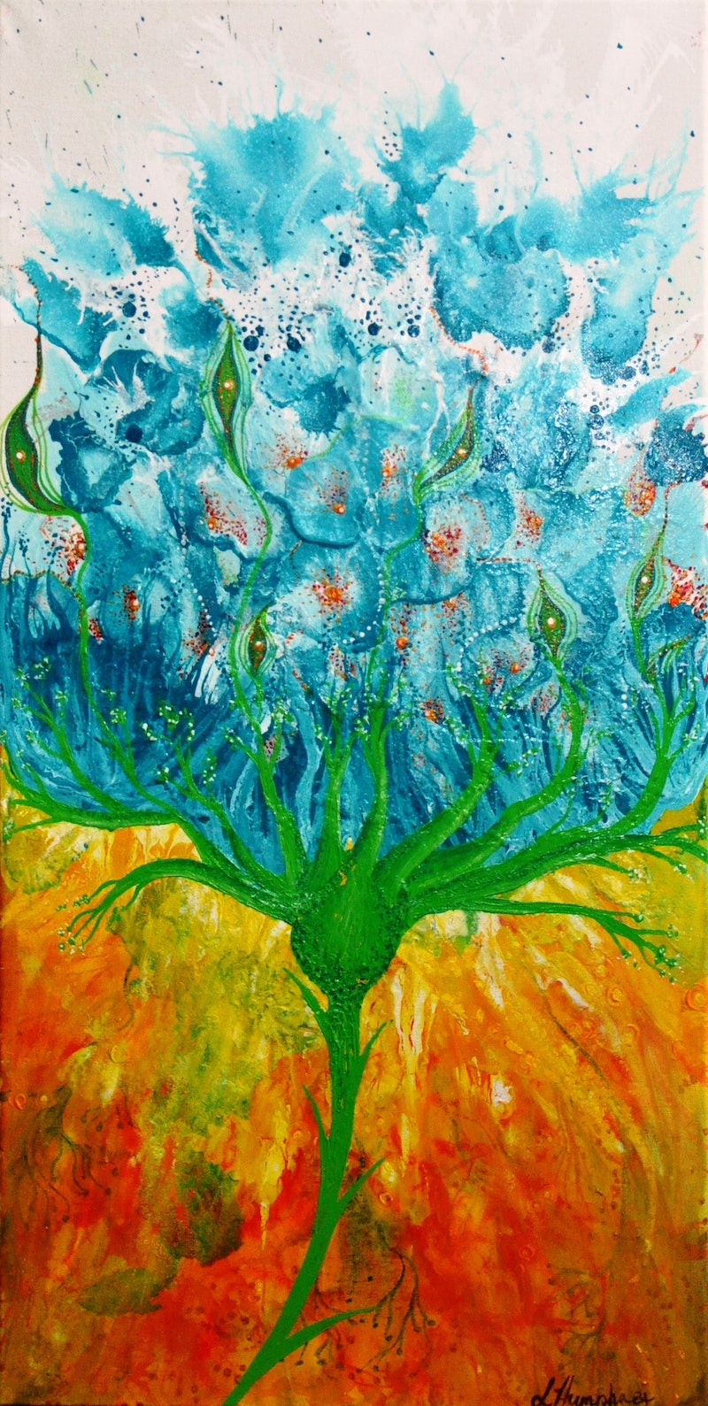 Blue Lotus By Lisa Humphrey Paintings For Sale Bluethumb Online