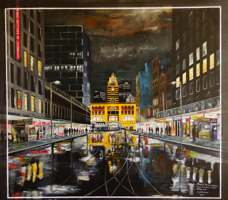 (CreativeWork) Flinders Street Station from Elizabeth Street, Melbourne by Christopher Johnston. arcylic-painting. Shop online at Bluethumb.
