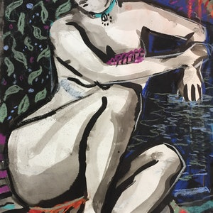 (CreativeWork) Bather by Helen Connolly. #<Filter:0x00007f1f76cb6d70>. Shop online at Bluethumb.