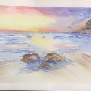 (CreativeWork) Beach  Sunrise  by Ruth Bye. watercolour. Shop online at Bluethumb.