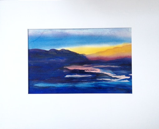 (CreativeWork) Sunset on the Rise by Elizabeth Vita. Watercolour Paint. Shop online at Bluethumb.