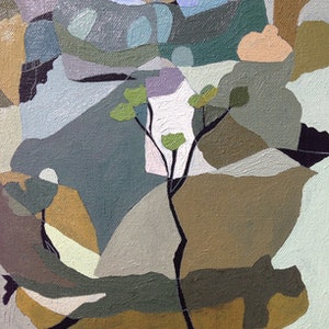 (CreativeWork) Gorge Walk with Blue Rock, Cataract Gorge, Tasmania by Lynne Flemons. oil-painting. Shop online at Bluethumb.
