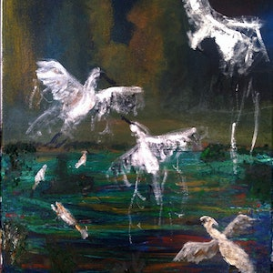 (CreativeWork) The Startled Spoonbills by Liam Munro. arcylic-painting. Shop online at Bluethumb.