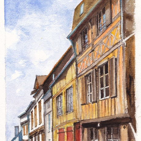 (CreativeWork) Colombage in Vernon, near Giverny, France by Dai Wynn. Watercolour Paint. Shop online at Bluethumb.