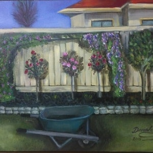 (CreativeWork) My backyard by Daniela Dimoska. oil-painting. Shop online at Bluethumb.