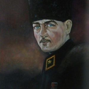 (CreativeWork) Ataturk (father of the Turks) by Daniela Dimoska. oil-painting. Shop online at Bluethumb.