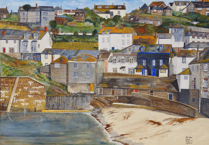 (CreativeWork) Port Issac by Christopher Johnston. acrylic-painting. Shop online at Bluethumb.