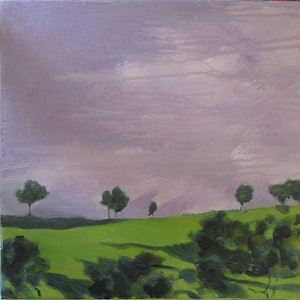 (CreativeWork) Green Slope by Janelle White. oil-painting. Shop online at Bluethumb.