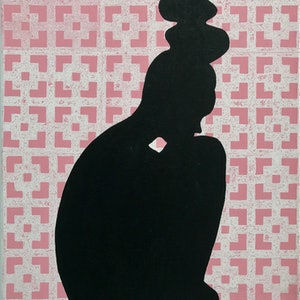 (CreativeWork) Silhouette in pink by Christina Power. acrylic-painting. Shop online at Bluethumb.