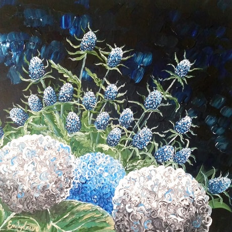 (CreativeWork) Seaholly & Hydrangea by Emily Lauro. Acrylic Paint. Shop online at Bluethumb.