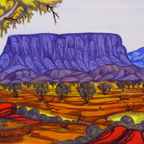 (CreativeWork) Mt Connor, NGUR09MRU8295 by Mervyn Rubuntja. Watercolour Paint. Shop online at Bluethumb.