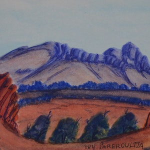 (CreativeWork) Mt Sonder, NGUR07IPA5545 by Ivy Pareroultja. watercolour. Shop online at Bluethumb.