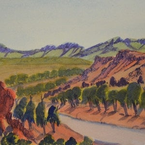 (CreativeWork) Finke River Near Glen Helen, NGUR07IPA5172 by Ivy Pareroultja. watercolour. Shop online at Bluethumb.