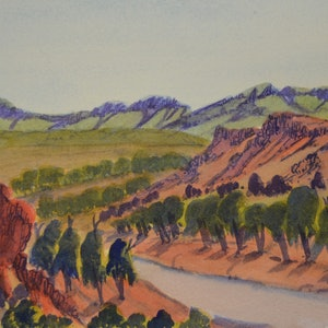 (CreativeWork) Finke River Near Glen Helen, NGUR07IPA5172 by Ivy Pareroultja. Watercolour Paint. Shop online at Bluethumb.