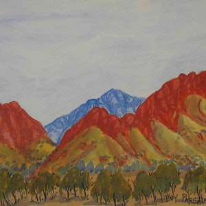 (CreativeWork) West MacDonnell Ranges, NGUR04IPA591 by Ivy Pareroultja. watercolour. Shop online at Bluethumb.