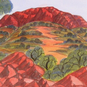 (CreativeWork) West Waterhouse, South of Alice Springs, NGUR09MRA8038 by Marie Abbott. watercolour. Shop online at Bluethumb.