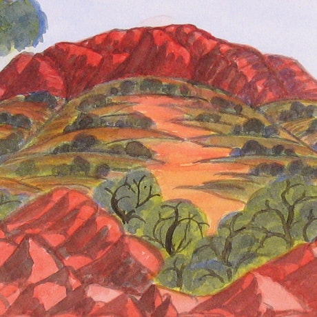 (CreativeWork) West Waterhouse, South of Alice Springs, NGUR09MRA8038 by Marie Abbott. Watercolour Paint. Shop online at Bluethumb.