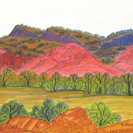 (CreativeWork) Towards Papunya in the West MacDonnell Ranges, NGUR08MRA6392 by Marie Abbott. Watercolour Paint. Shop online at Bluethumb.
