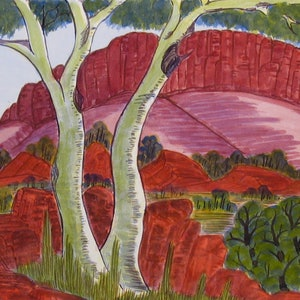 (CreativeWork) West MacDonnell Ranges, NGUR08MRA6383  by Marie Abbott. watercolour. Shop online at Bluethumb.