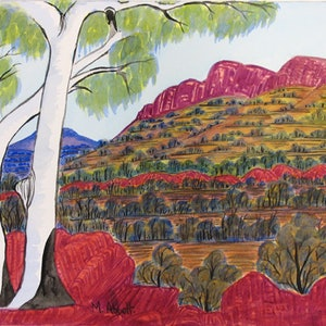 (CreativeWork) West MacDonnell Ranges,  NGUR08MRA6308 by Marie Abbott. watercolour. Shop online at Bluethumb.