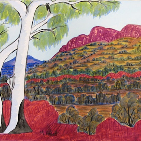 (CreativeWork) West MacDonnell Ranges,  NGUR08MRA6308 by Marie Abbott. Watercolour Paint. Shop online at Bluethumb.