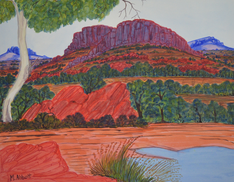 (CreativeWork) West MacDonnell Ranges, NGUR07MRA5717 by Marie Abbott. watercolour. Shop online at Bluethumb.