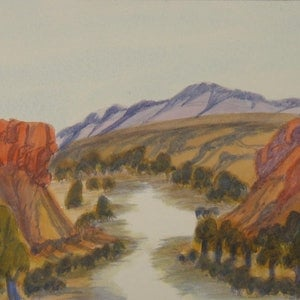 (CreativeWork) Ellery Creek Gorge  Number 4, NGUR07IPA5106 by Ivy Pareroultja. watercolour. Shop online at Bluethumb.