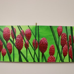 (CreativeWork) Beehive Ginger Forest by Elle Lyon. arcylic-painting. Shop online at Bluethumb.