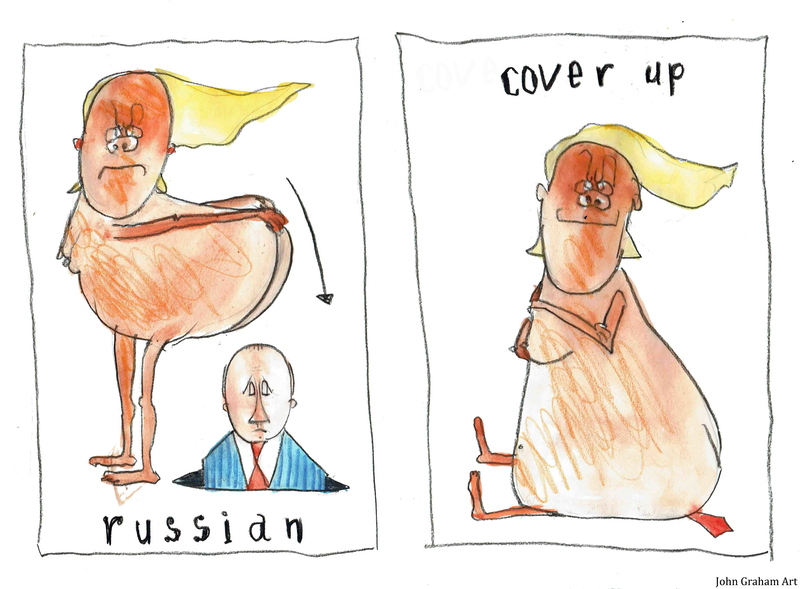 (CreativeWork) Trumptoons - Russian Coverup  by John Graham. mixed-media. Shop online at Bluethumb.