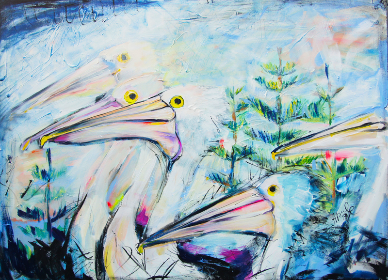 (CreativeWork) Pelicans II by Katerina Apale. arcylic-painting. Shop online at Bluethumb.
