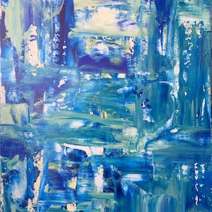 (CreativeWork) Feeling Blue by Bronwyn Muzzin. arcylic-painting. Shop online at Bluethumb.