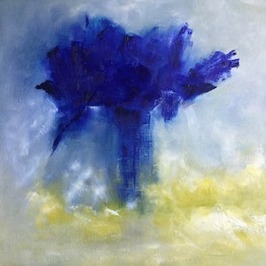 (CreativeWork) Explosive Blues by Patricia Galloway. oil-painting. Shop online at Bluethumb.