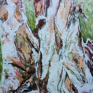 (CreativeWork) At Home with my Paper Bark Tree by Debra Dougherty. acrylic-painting. Shop online at Bluethumb.