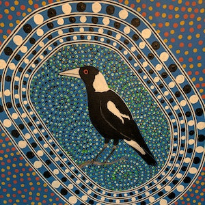 (CreativeWork) Magpie by Michael Breen. arcylic-painting. Shop online at Bluethumb.