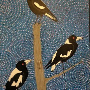 (CreativeWork) The Magpies by Michael Breen. arcylic-painting. Shop online at Bluethumb.