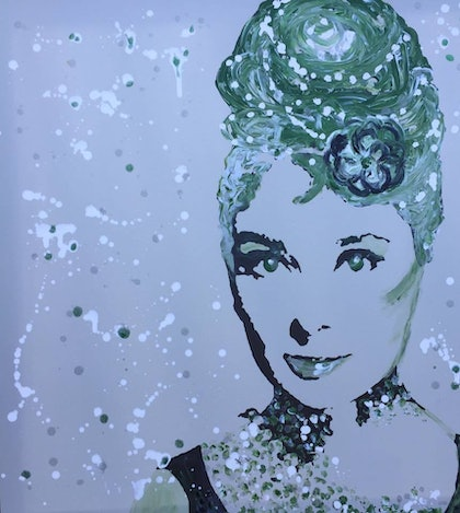 (CreativeWork) Emerald Audrey by Zazie Manson. arcylic-painting. Shop online at Bluethumb.
