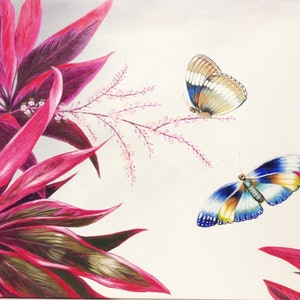 (CreativeWork) Butterflies in garden by Christine Young. arcylic-painting. Shop online at Bluethumb.