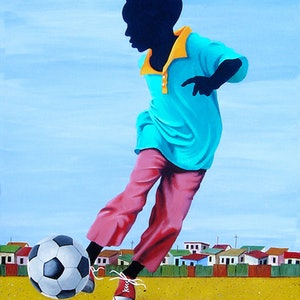 (CreativeWork) In Pelé's Footsteps. by Tony Beckley. arcylic-painting. Shop online at Bluethumb.