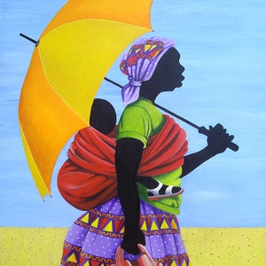 (CreativeWork) Woman with Umbrella. by Tony Beckley. arcylic-painting. Shop online at Bluethumb.