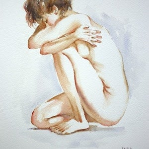 "(CreativeWork) ""Bare Hug"" by Pauline Adair. watercolour. Shop online at Bluethumb."