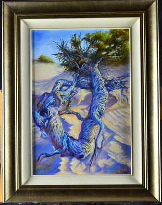 (CreativeWork) Driftwood on sandy beach - Redbank beach SA by Christopher Vidal. Oil Paint. Shop online at Bluethumb.