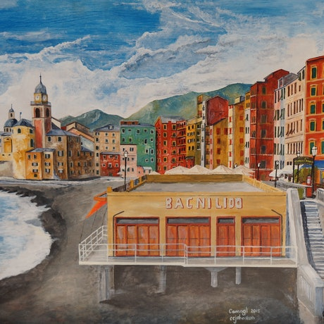 (CreativeWork) Camogli, Northern Italy by Christopher Johnston. Acrylic Paint. Shop online at Bluethumb.